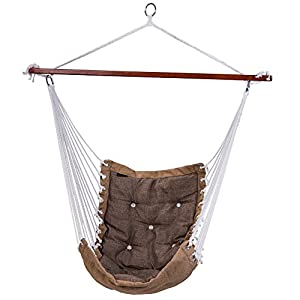 SUNMERIT Hanging Rope Hammock Chair Swing Seat for Indoor or Outdoor Spaces,300 lbs Capacity (Light gray)