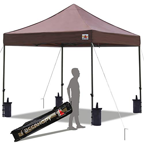 ABCCANOPY Pop up Canopy Tent Commercial Instant Shelter with Wheeled Carry Bag, Bonus 4 Canopy Sand Bags, 10x10 FT Brown