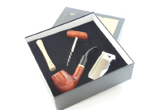 Tobacco Pipe Gift Set - Mr. Brog Gold Collection - Briar Pipe, Stand, Tamper, Lighter w Tool, Wine Opener - Hand Made by Mr. Brog (Image #6)