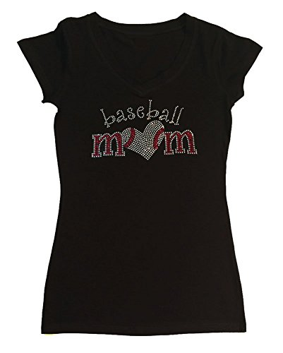 Womens T-Shirt with Baseball Mom with Heart in Rhinestones (2X, Black Cap Sleeve) -