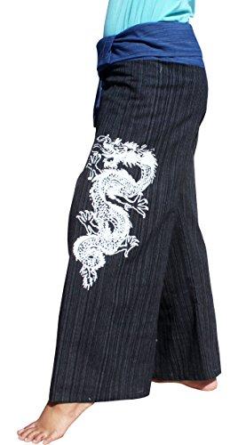 Raan Pah Muang RaanPahMuang Striped Cotton Two Toned Fisherman Pants Asian Dragon Tattoo, X-Large, Blue Black