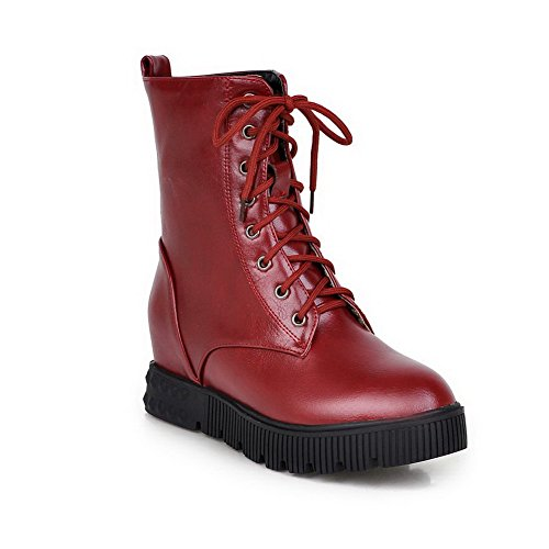 Allhqfashion Women's Kitten Heels Low Top Solid Lace up Boots Red