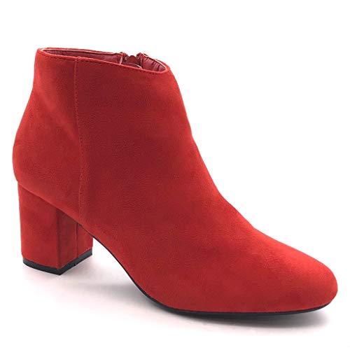 6 Low Chic Intérieur Bloc Boots Haut Fourrée Talon Moderne Chaussure Rouge Cm 5 Bottine Femme Mode Angkorly IFxP1