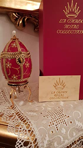 RARE Red Russian egg FABERGE style egg Imperial jeweled egg/UNIQUE Faberge egg style egg jewel box/MUSICAL egg Fabergé style/HANDMADE Russian trinket egg style/HANDMADE Faberge style egg Cyprus (Eggs Faberge Jeweled)