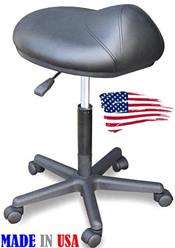 Less Saddle Bar Stools - 915 Salon Spa Cutting Stool Saddle Anti-fatigue chair Made in USA by Dina Meri