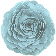 Eva's Flower Garden Decorative Throw Pillow. 13 Inch Round. (Aqua, One Size)