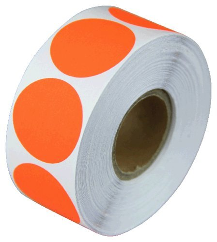 Roll Products 119-0004 Adhesive Dot Label Roll of 1000 1 Diameter For Inventory and Marking Salmon