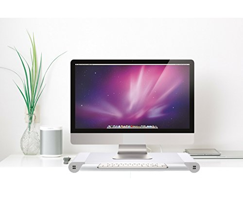 Monitor Stand Riser for Computer PC MAC - Reduce Neck Pain - Keyboard Storage Office Desk Drawer Organizer Keep It Neat and Tidy - 4 USB Power Charging Station (WALL PLUG) Within Your Arm Reach by Howamaz (Image #5)