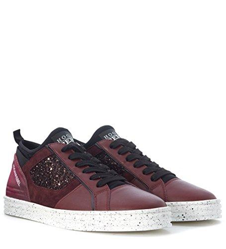 Sneaker in e Rebel Hogan Rojo camoscio bordeaux rosso R 141 pelle qHIfqxOrw