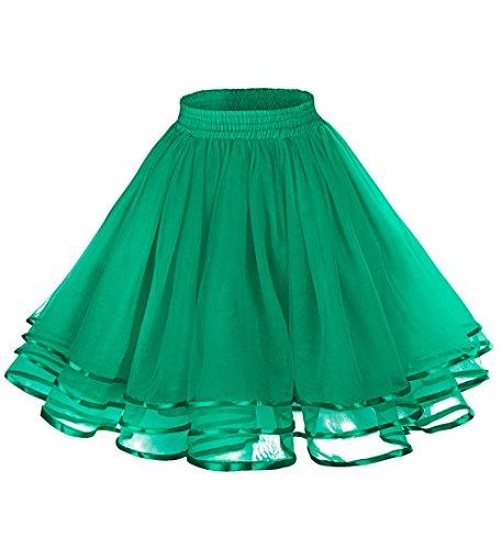 [LaceLady Women's Vintage Petticoat Tutu Underskirt Crinoline Dance Slip with Belt Lime Green M] (Pictures Of Jazz Dance Costumes)