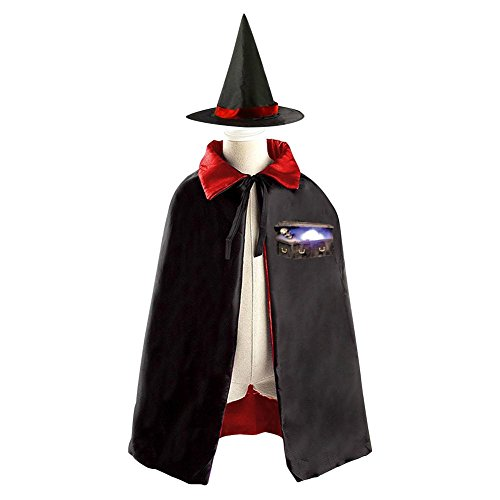 Halloween Human Skeleton Coffin Decoration Props Witch Wizard Cloak Double-sided Cosplay Reversible Costumes Hat Caps (Cheap Halloween Coffins For Sale)