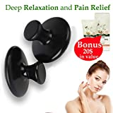 Relieve Tension and Relax Sore Muscles with Handheld Massage Stones Mushroom Shaped Massagers Basalt Rocks Portable Natural Relaxing Massager Traditional Spa Therapy + European Body Cream + E-Book