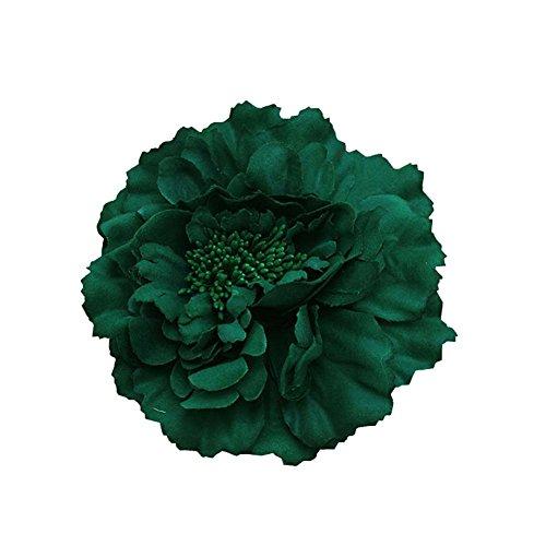 Kewl Fashion Women's Bohemia Peony Flowers Hairpin Hair Clip Flower Brooch (Dark Green ()