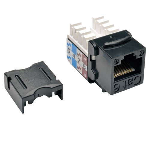 TRIPP LITE Cat6 Cat5e 110 Style Punch Down Keystone Jack, Black, 10-Pack - Cable Cat6 Jack Bl