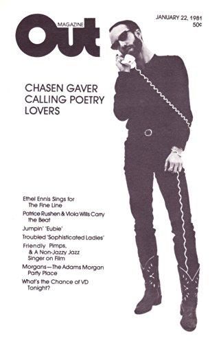 Poet Chasen Gaver, The Jazz Singer - January 22, 1981 Local Gay Interest Washington D.C. Out Magazine