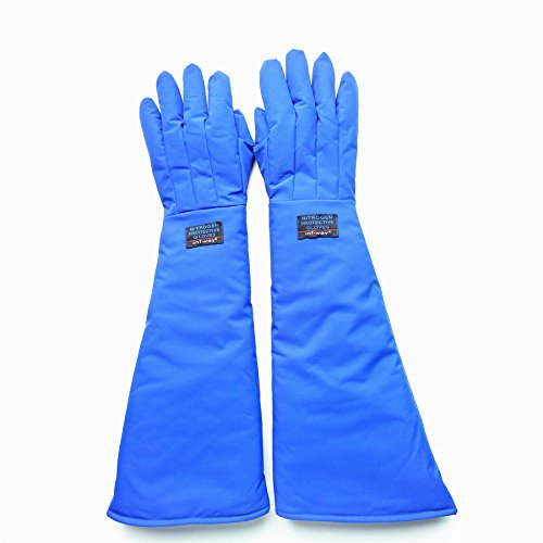 Inf-way 4 Sizes Long Cryogenic Gloves Waterproof Low Temperature Resistant LN2 Liquid Nitrogen Protective Gloves Cold Storage Safety Frozen Gloves (Blue Large) by Inf-way (Image #1)