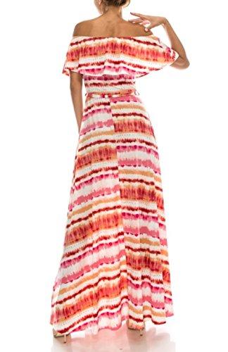 Bon Femmes Roses De Hérissent Au Large Robe Maxi Boho Imprimé Épaule Tie Dye Rose