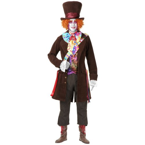 Electric Mad Hatter Orange Hat (Electric Mad Hatter with Pants Adult Costume - Medium)