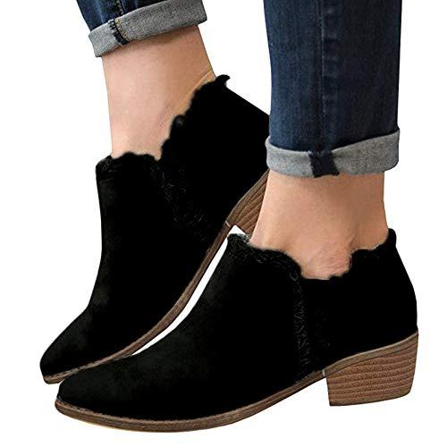Nero Stivali Da Singole Scarpa Con Tacchi invernali Single ragazza Boots Stivaletti boots Basso Stivale autunno Alti Shoes Bazhahei Moda Donna Scarpe Tacco n6PxR51