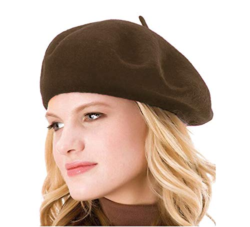 Womens Solid Color 100% Wool French Beanie Cap Hat (Brown) Brown Small French Hat