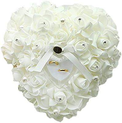 Hosaire Almohada Anillo de boda 24X22CM forma corazón Regalo Anillo Cojín Almohada Romántica Rosa Alianza Anillo Cojín Caja Anillo Favores De La Boda