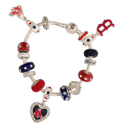 Mlb Silver Charm Bracelets (Boston Red Sox Large Hole Bead Bracelet Fits Wrist Size ~ 8 1/2)