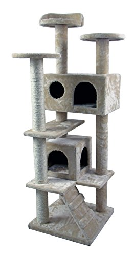 HIDING CAT TREE Nice Tower Condo Furniture Scratch Post Kitty Pet House Play Furniture Sisal Pole and Stairs, 50' H, Beige