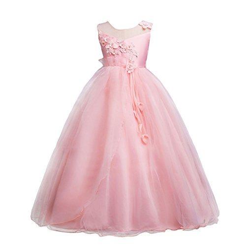 Ragazze Principessa Sera Si Nozze Compleanno Maniche Di Wolfteeth Di Convenzionale Vestito Rosa 4153 Vestono Fiori Festa Di Da xp6Eq4w
