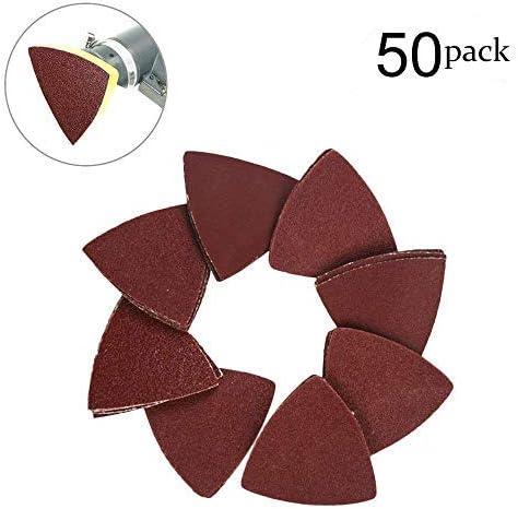 OxoxO Lot de 50 feuilles de papier abrasif triangulaires sans trou en oxyde daluminium Assortiment de 40 60 80 100 120 Grains 9 x 9 x 9 cm