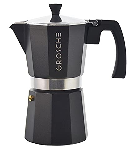 GROSCHE Milano Moka Stovetop Espresso Coffee Maker, Black, 3 cup
