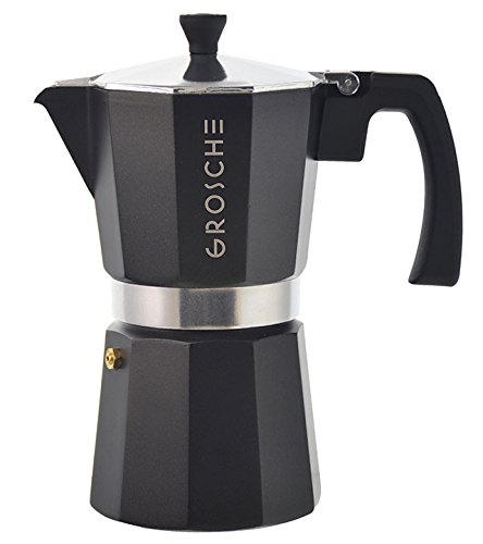GROSCHE Milano Moka 6-Cup Stovetop Espresso Coffee Maker with Italian Safety Valve and Protection Handle, Black (Stovetop Espresso Maker Handles)