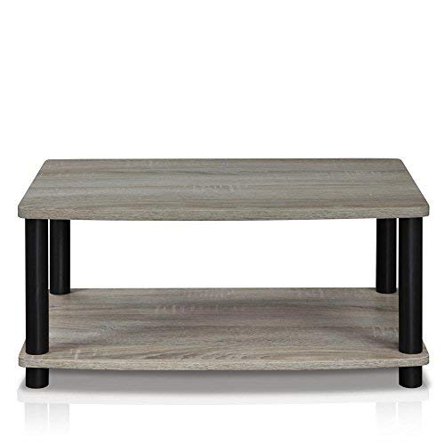 Furinno 13191GYW/BK Turn-N-Tube 2-Tier Elevated TV Stands, French Oak Grey/Black
