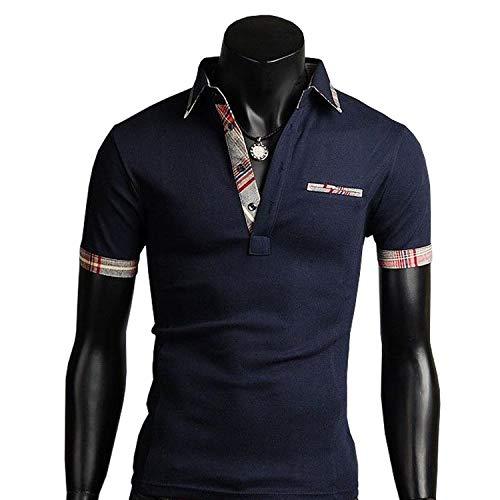 AMBLY ポロシャツ メンズ チェック 半袖 Tシャツ カットソー ゴルフウェア トップス カジュアル コーデ ネイビー 白 春 夏 秋 メンズファッション