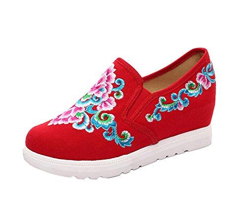Avacostume Donna Ricamo Fiore Zeppa Casual Scarpe Sneakers Mocassini Rosse