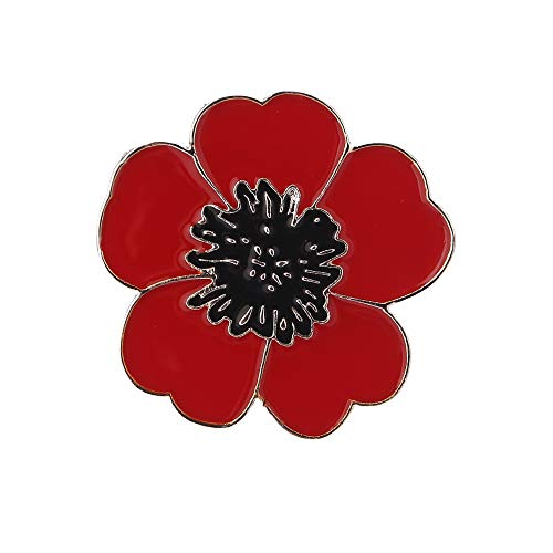 New Red Black Enamel Men Womem Poppy Brooches Gold Silver Remembrance Day Gifts Jewelry (Silver Plated)