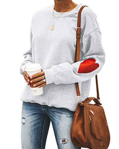 Umeko Womens Tops Valentine's Day Long Sleeve Cute Heart Printed Tunic Pullover Sweatshirts Light Grey ()