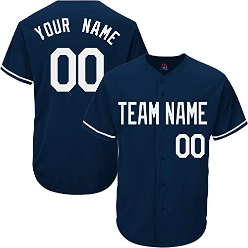 (Navy Custom Baseball Jersey for Women Throwback Embroidered Team Player Name & Numbers,White Size M)