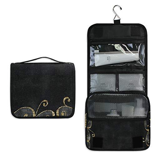 Hanging Toiletry Bag Black And Gold Backgrounds Waterproof Wash Bag Makeup Organizer for Bathroom Men Women