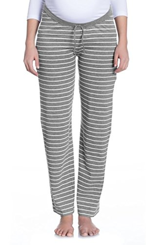 Nitis Umstandsmode Vêtements de nuit Pyjama fait Loungehose Pantalon Femmes - écru/Gris, 42/44 (Herstellergröße: XL )