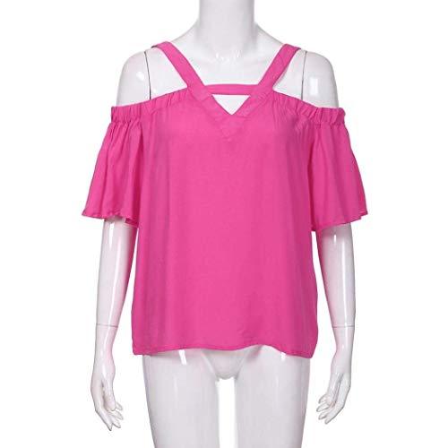 Manche V Tops Tshirt Shirts Cou Et Uni Top Nu Elgante Spcial Dos Femme Mode Sling T Style lastique Pink Nues Hot Confortable Manches Casual paules Courtes AFPq8qg0