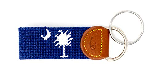 Hand-Stitched Needlepoint Key Fob or Key Chain by Huck Venture (South Carolina Flag)