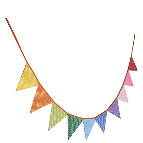VORCOOL 10pcs Triangle Decoration Banner Flags Party Bunting Banners Polka (Rainbow Bunting)