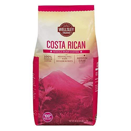 Wellsley Farms Costa Rican Whole Bean Coffee, 40 oz. (pack of 6)
