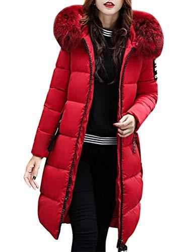 Tomwell Hiver Manteau avec Capuche Fourrure Doudoune Femme Zipp Longue Duvet de Coton Grande Taille Doudoune Rouge
