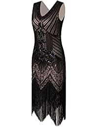 Women 1920s Gastby Sequin Art Nouveau Embellished Fringed...