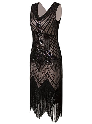(Vijiv Women 1920s Gastby Sequin Art Nouveau Embellished Fringed Cocktail Dresses Beige Pink)