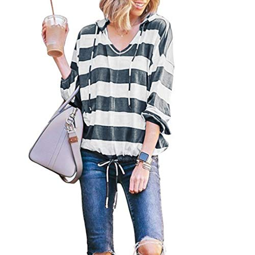 Witspace Womens Casual Stripe Long Sleeve Thin Hoodie Pullover Tops Blouse ()