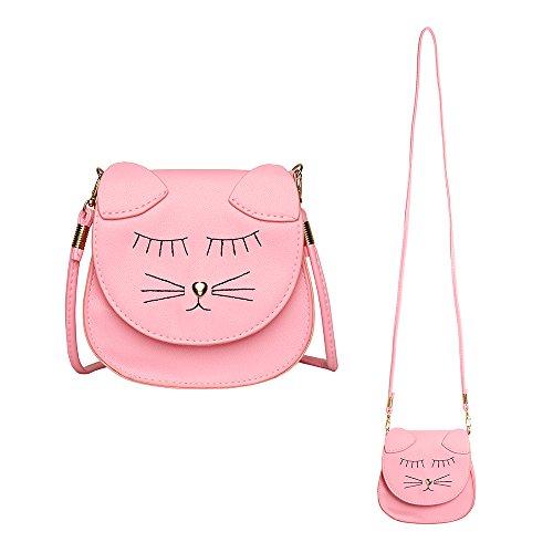 핑키 가족 어린 소녀 지갑 귀여운 고양이 동전 지갑 어깨 가방 핸드백 여자 선물(핑크)