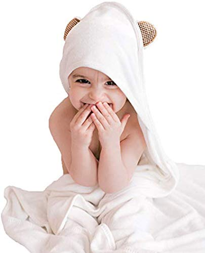 beallora. Hooded Baby Bath Towel - Premium Organic Bamboo Bathrobe - Extra Thick and Soft for Sensitive Skin - Natural Robe for Kids - Super Absorbent and Keeps Your Child Warm