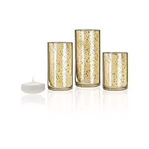 Amazon Com Yummi Set Of 3 Floating Candles And Gold